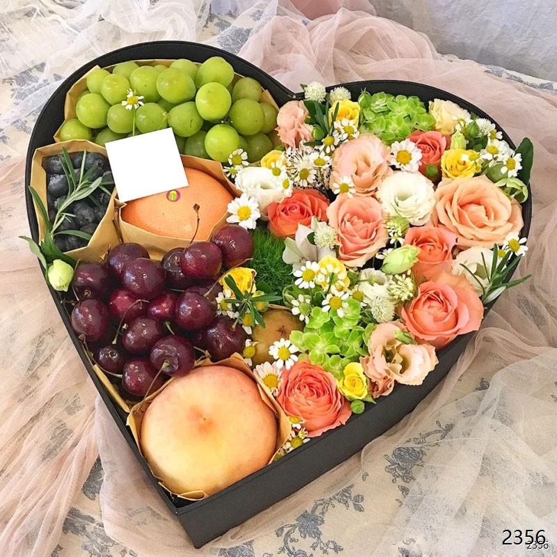 心型玫瑰水果礼盒